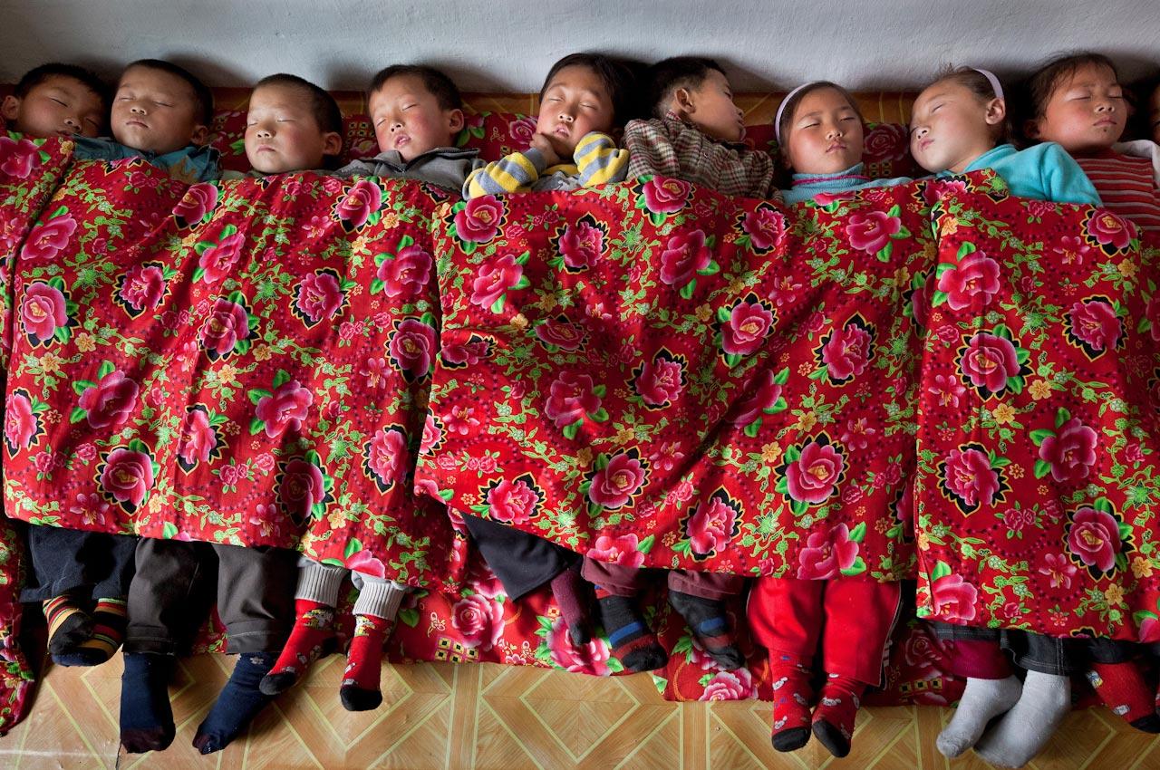 Mittagsschlaf in einer Kinderkrippe in Anju, in der nordkoreanischen Provinz Süd-Pyongan.