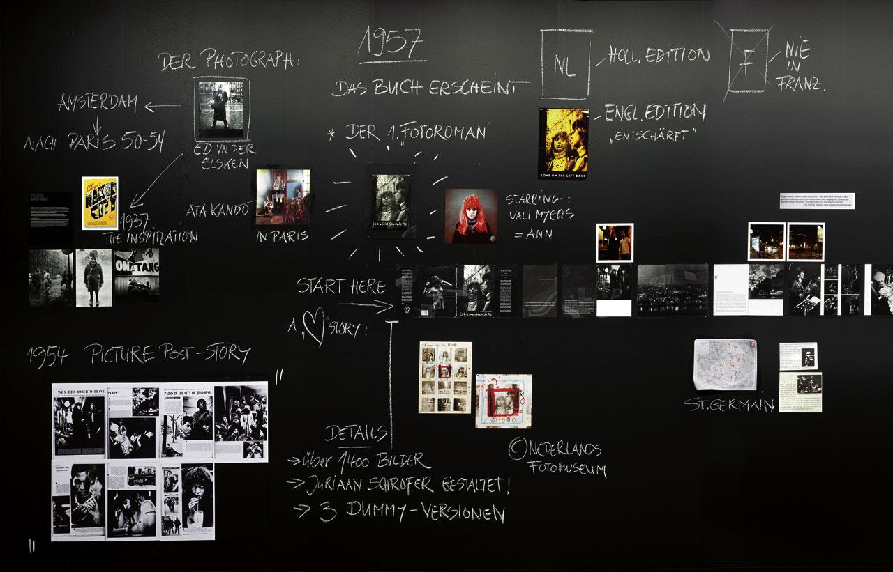 Mindmapping an der Museumswand: Die »PhotoBookStudies«, didaktische Aufbereitungen von Schlüsselwerken, wie hier Ed van der Elskens »Liebe in Saint-Germain de Prés«.