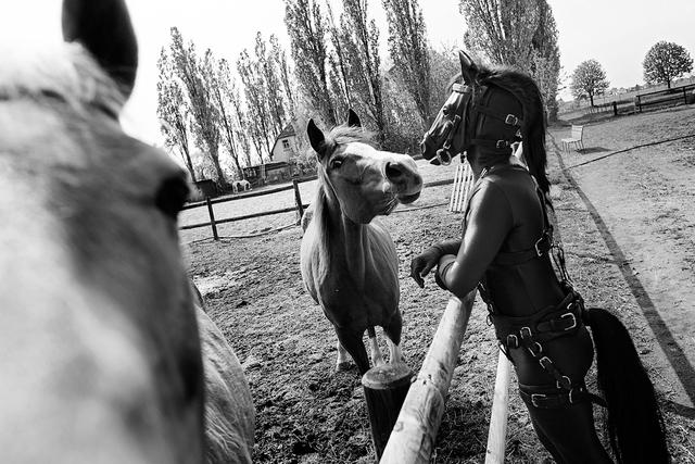 Florian Müllers in Schwarzweiß fotografierte Arbeit »The Candy Crush Project« zeigt Fetischisten: Menschen, die sich als Hunde oder Pferde verkleiden, sich gefesselt an die Decke hängen oder komplett in Verpackungsfolie einwickeln lassen.