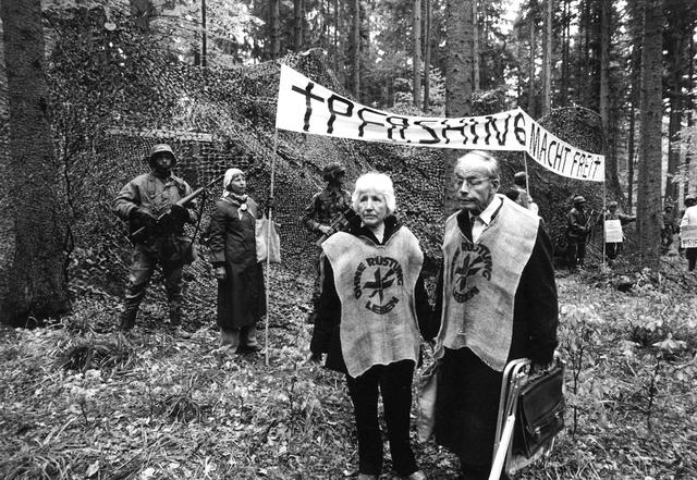 Protest gegen Rüstung in Mutlangen in den 1980er Jahren.