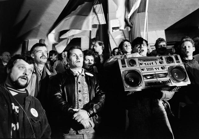 Kundgebung der DSU (Deutsche Soziale Union) im Februar 1990 in Leipzig.