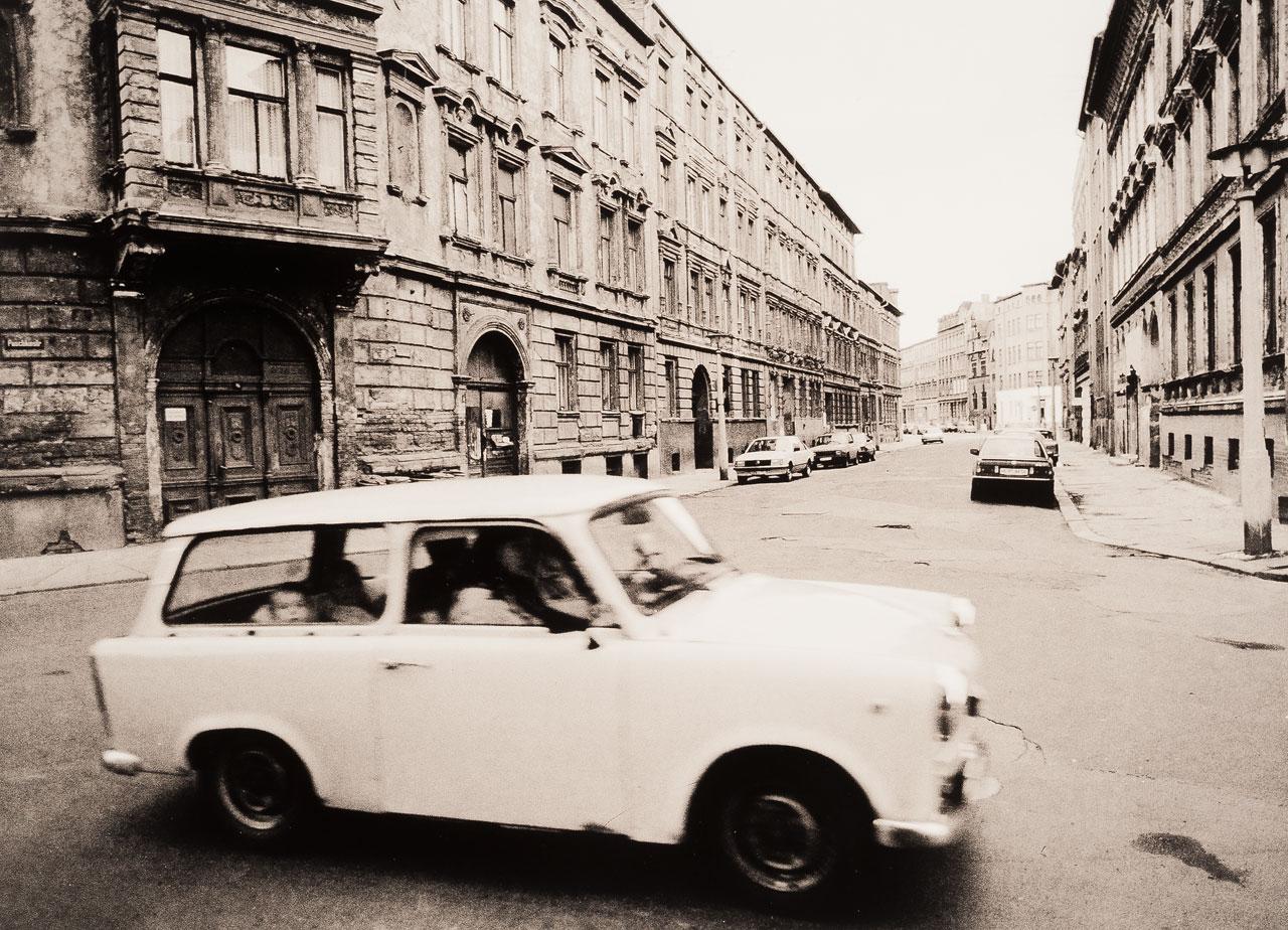 Puschkinstraße, Halle an der Saale, September 1990.