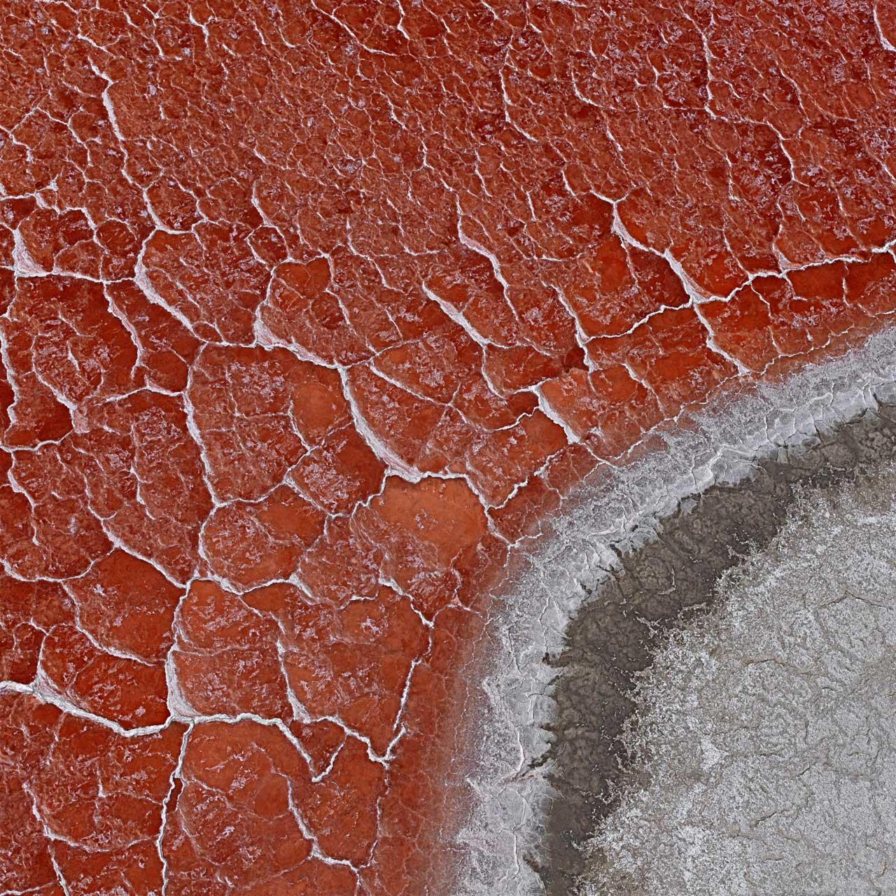 Der Searles Lake hat keinen Abfluss. Hin und wieder sammelt sich dort Regenwasser, welches in der Hitze allmählich verdunstet. Der See wird zu einem Salzsumpf und trocknet aus. Mikroorganismen, die im Seeboden schlummern, beginnen sich zu vermehren. Sie tragen einen Farbstoff im Körper, wie man ihn auch in Tomaten findet. Er macht die Salzkruste rot. Searles Lake, Kalifornien, USA.