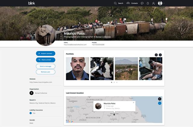 User-Profil mit Biografie, Portfolio und Kontaktdaten. Über eine Mobile App kann jederzeit unkompliziert der aktuelle Standort angegeben werden.