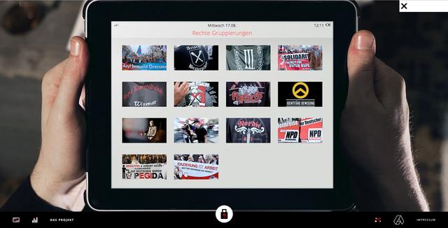 Mit einem Klick kommt man zum Beispiel zum Tablet des Nazis und findet dort Informationen zu verschiedenen rechten Gruppierungen.