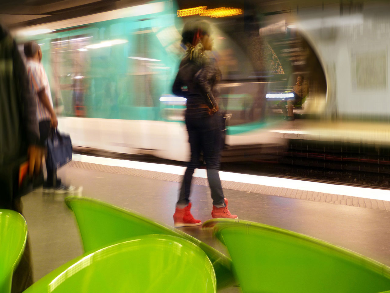 Green chairs, Paris, France, 2013.