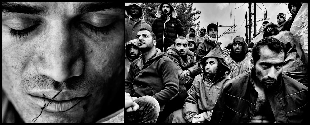 Iranian migrants, some of whom are on hunger strike with their mouths sewed shut, stand on rail tracks at the border between Greece and Macedonia during a rain storm on November 26, 2015 near the village of Idomeni, Greece.