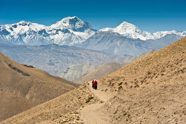 Bild 8: Wandernde Mönche im Himalaya, Nepal.
